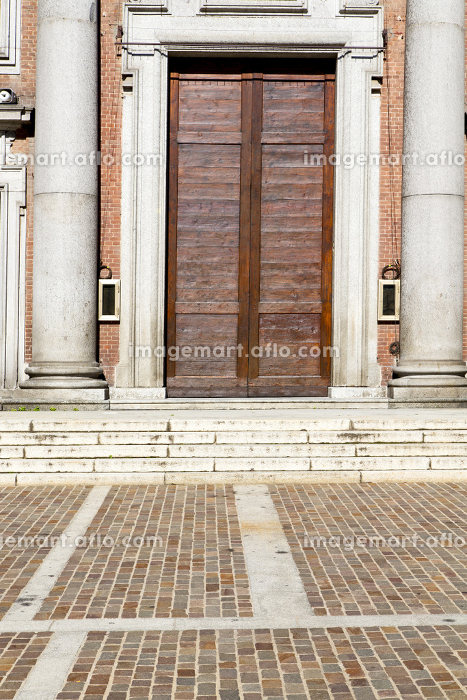 italy  lombardy     in  the somma lombardo old   church  closed brick tower     wall