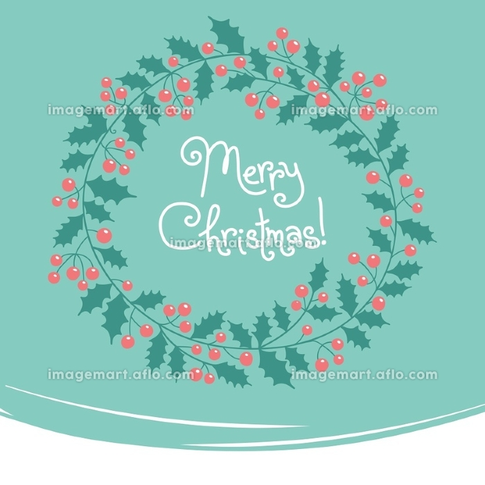 Xmas card. Vintage card with Christmas wreath. Vector illustration.の販売画像