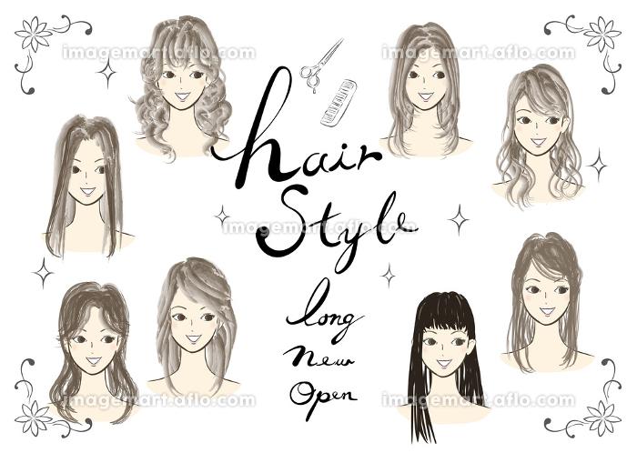 若い女性のヘアスタイルのイラスト集合 おしゃれな髪型のファッション系ベクターイラストのセットの販売画像