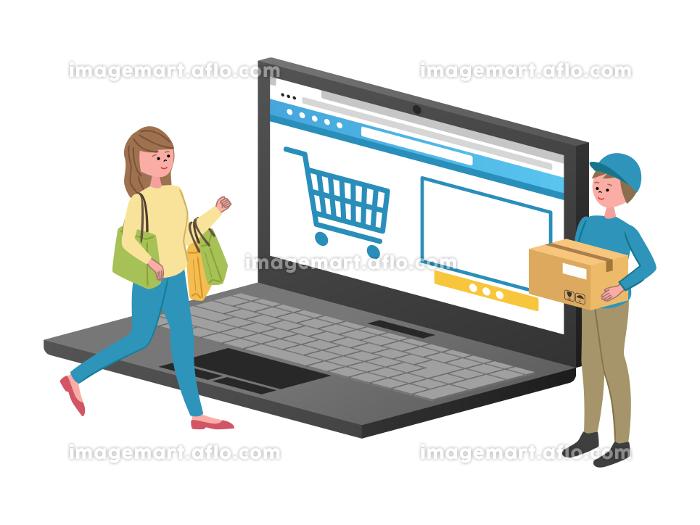 ネットショッピングのイラストの販売画像