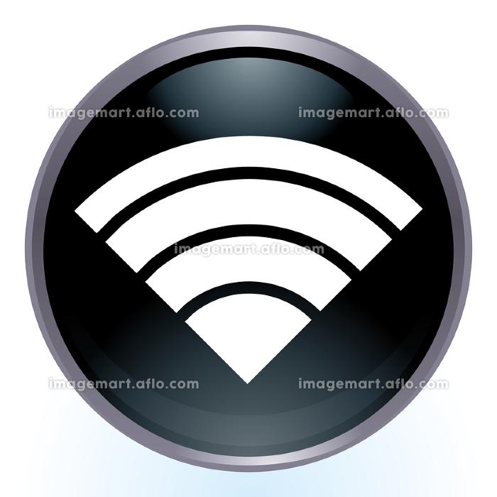 光沢感立体感のあるワイファイWi-Fiのロゴ カラフルなイラストセット アイコンラジオボタンの販売画像