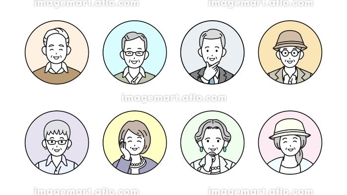 シニア 年配 高齢者 お年寄り 男女 人々 アイコン セット イラスト素材の販売画像