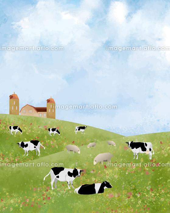 牛:牛 牧草 北海道 酪農 農業 放牧 草 水彩 青空 放牧