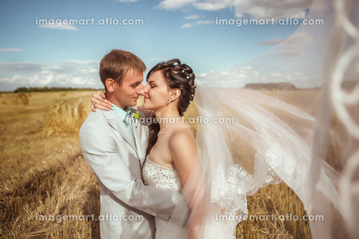 Beautiful bride and groom portrait in natureの販売画像