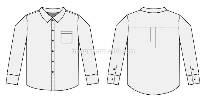 アパレルテンプレート / 長袖シャツ・ワイシャツ・Yシャツ べクターイラスト(136205606)|イメージマート