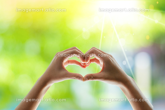 Woman's hands are heart-shaped. beautifulの販売画像