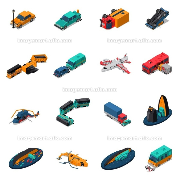 Transport Accidents Isometric Set. Transport accidents isometric set with automobile and train crashes broken airplane and helicopters shipwreck isolated vector illustrationの販売画像