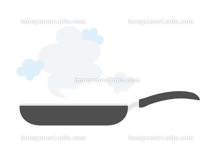 フライパンで調理するイラストの販売画像