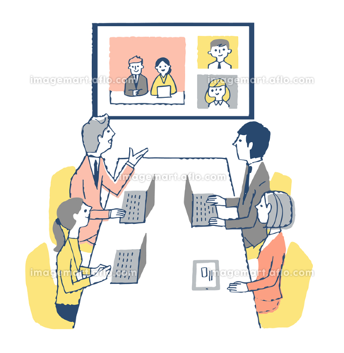 オンライン会議をするビジネスマンの販売画像