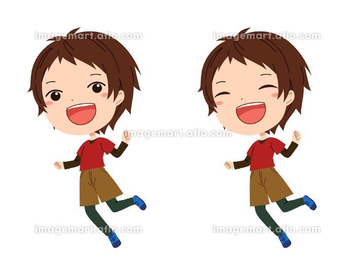 ジャンプしているボーイッシュな女の子のイラの販売画像