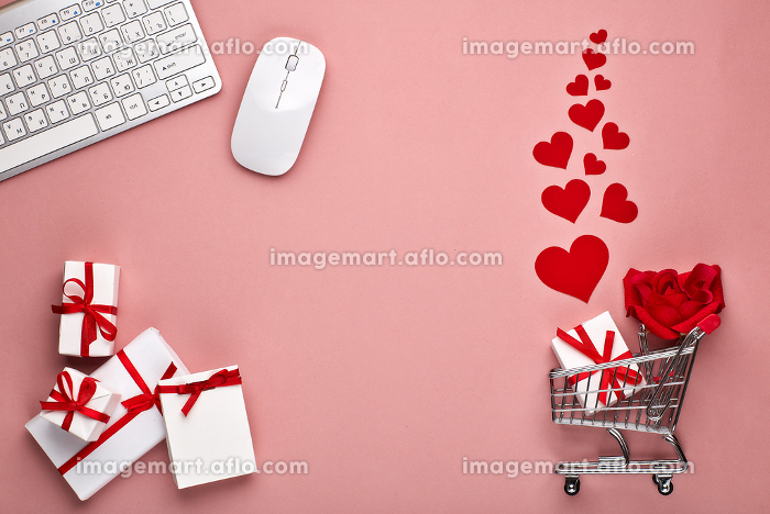Shopping trolley with gifts. Valentine's day