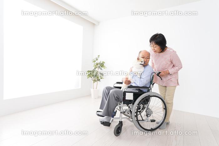 介護をする高齢の夫婦の販売画像
