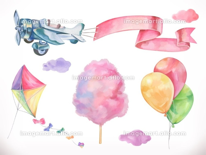 Watercolor air. Kite, airplane, cotton candy and clouds, balloons. Vector icon set