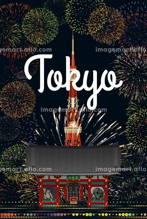 東京タワーと雷門と花火 イラストの販売画像
