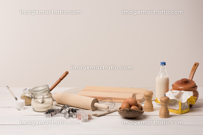 Ingredients for dough on white wooden tableの販売画像