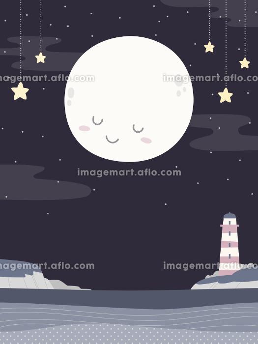 かわいい満月と灯台、夜の海の風景、背景素材の販売画像
