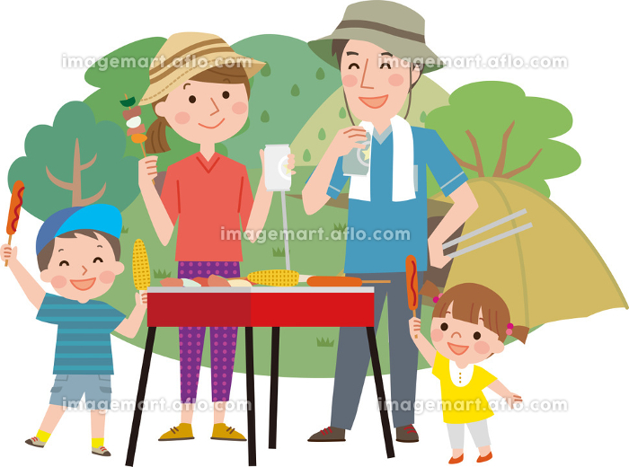キャンプする家族(半袖・新緑版) BBQ バーベキューの販売画像