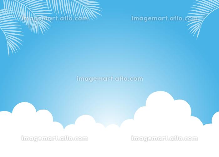 青空に雲とヤシの葉の販売画像