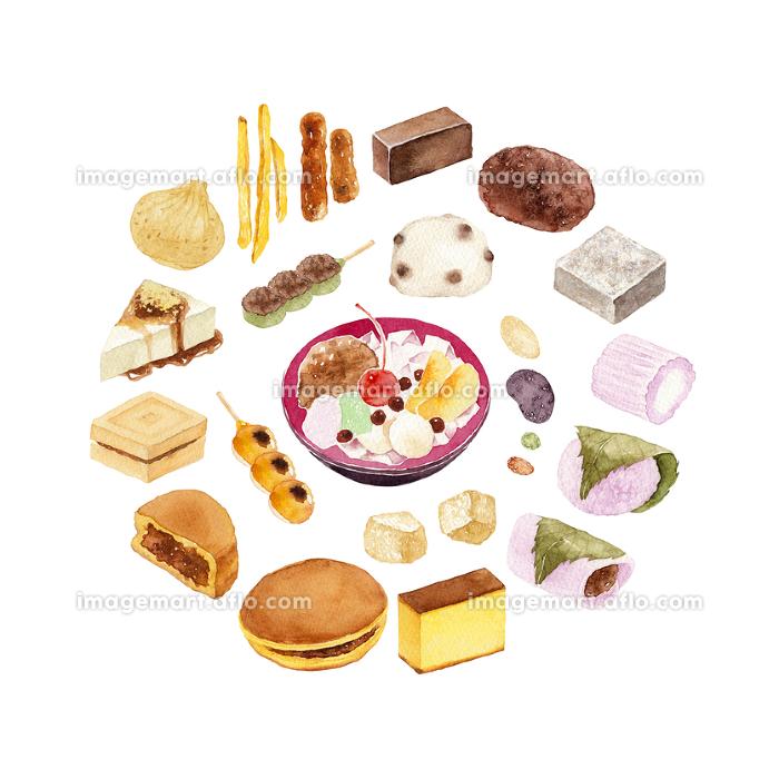 和菓子 セット 水彩 イラストの販売画像