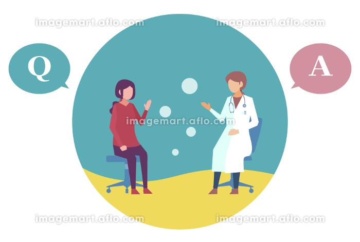 女性医師に診察を受ける若い女性 人物フラットイラスト ベクターの販売画像