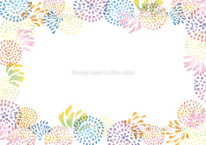 花火大会の水彩風背景素材 お祭り 夏祭り 花火 水彩 背景 フレームの販売画像