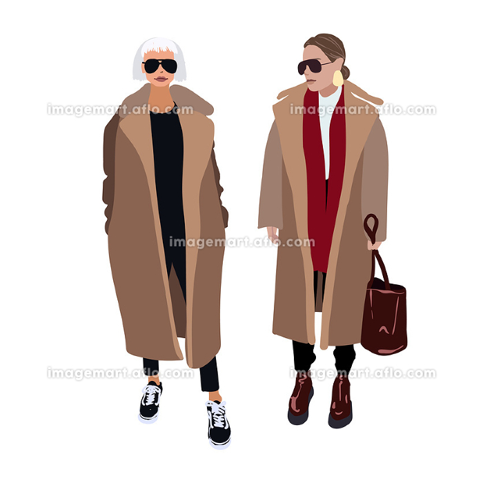 Young women or girls dressed in trendy clothes standing together. Group of friends. Female cartoon characters isolated on white background. Flat colored vector illustration - Vector