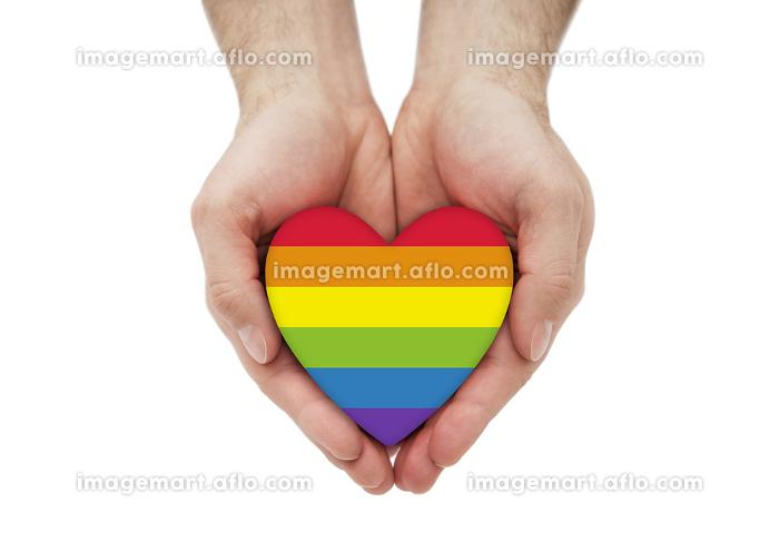 LGBT rainbow heart symbol of love in handsの販売画像