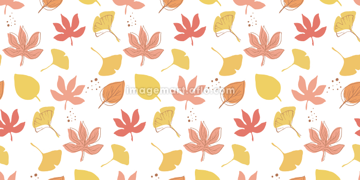 秋の植物 紅葉 シンプルなシルエットと線画のシームレスパターンの販売画像