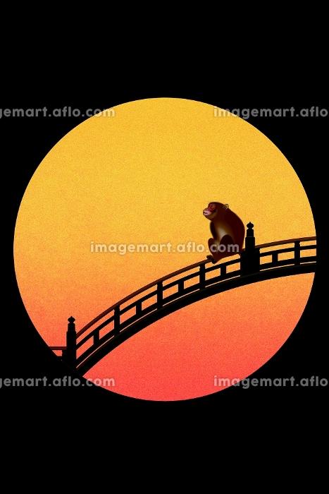太鼓橋に座るサル イラストの販売画像