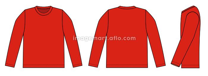 アパレルテンプレート / 長袖Tシャツ・ロンT べクターイラスト (フロント・バック・サイド)の販売画像