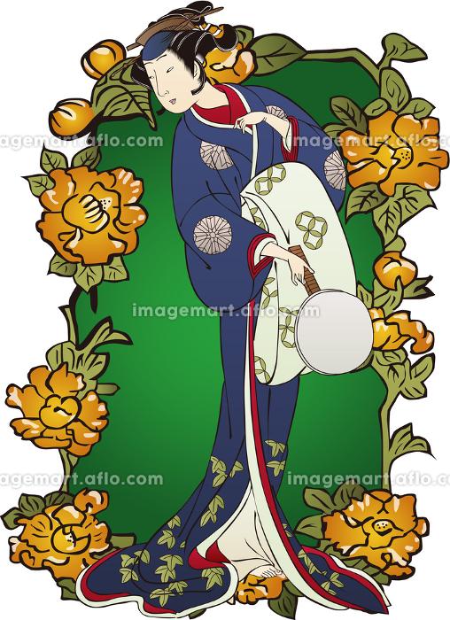 浮世絵 歌舞伎役者 女性&花 その3の販売画像