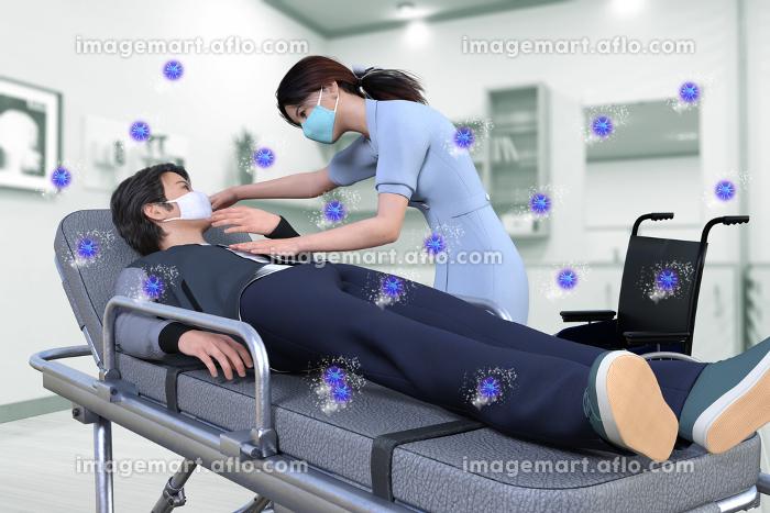 ウイルス感染で体調不良を訴えるマスクをした日本人男性をストレッチャーに乗せ検温をし病状を確かめる看護