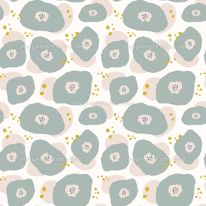 レトロモダン、北欧風の花のシームレスパターンの販売画像