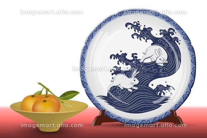 うさぎの絵皿とミカン イラストの販売画像