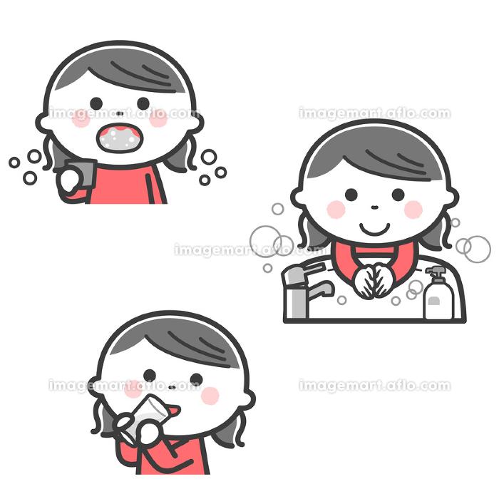 感染症予防/うがい、手洗い、水分補給をする女の子/2色の販売画像