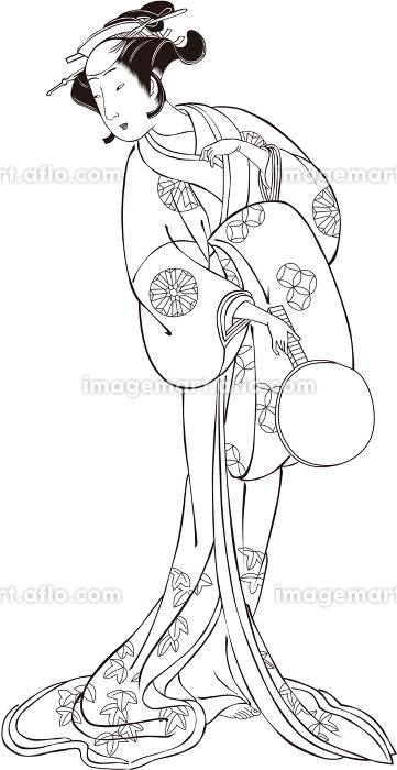 浮世絵 歌舞伎役者 女性 その3 白黒の販売画像