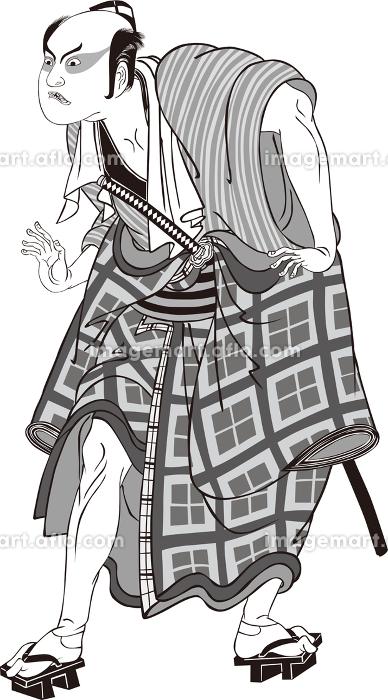 浮世絵 歌舞伎役者 その67 白黒の販売画像