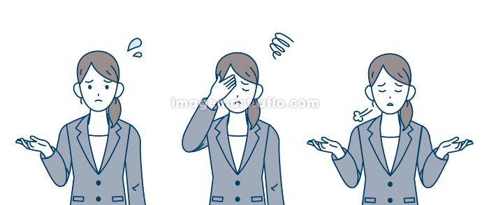 ビジネスウーマン 会社員 肩をすくめる 困る ネガティブな感情の販売画像