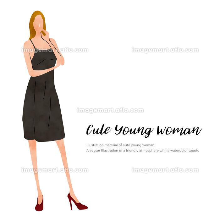 イラスト素材:夏のファッション、若い女性の販売画像