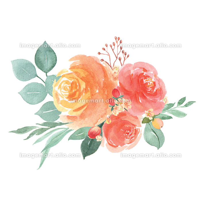 Watercolor florals hand painted bouquets lush flowers llustrationの販売画像