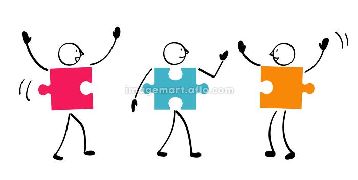 3人のパズルと連結の販売画像