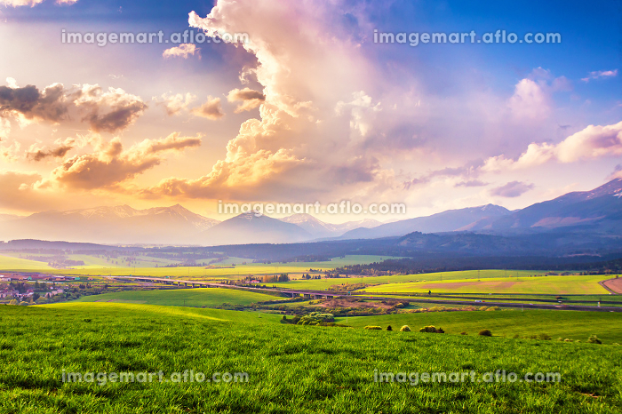 Picturesque green fields and meadow landscape. Panorama of Slovakia Tatras mountains in spring.の販売画像