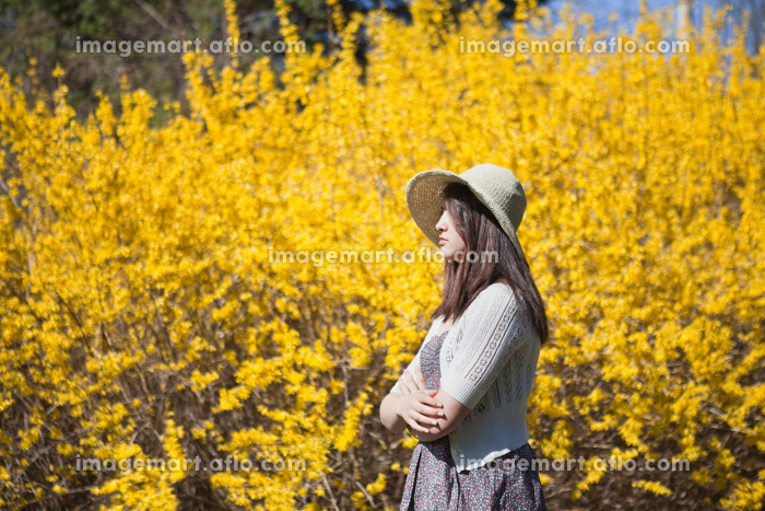 Girl standing by flowersの販売画像