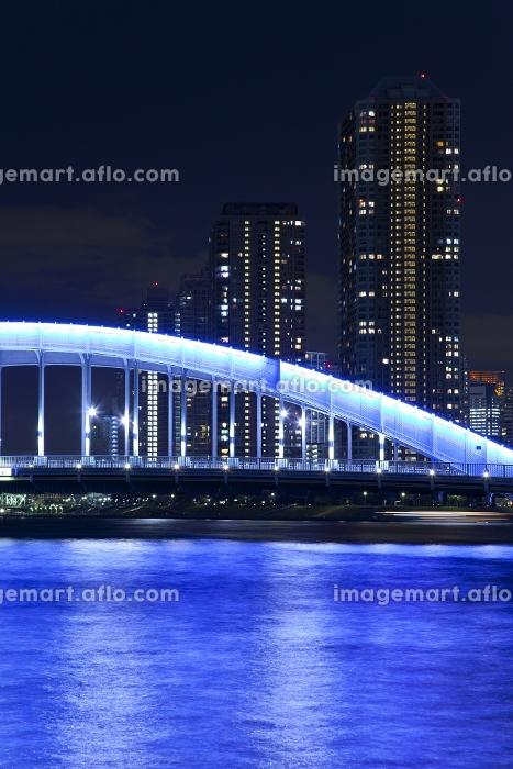 佃島のマンション群と永代橋 夜景の販売画像