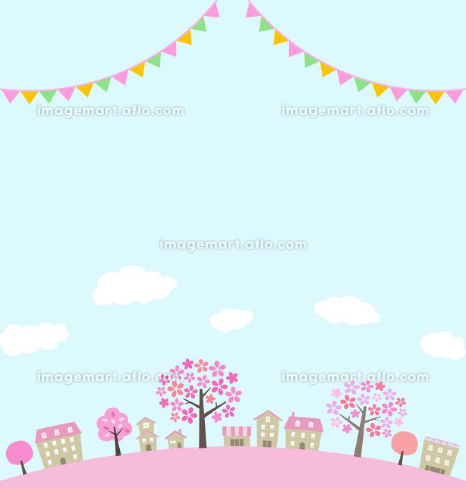 桜並木の街並みとガーランドの販売画像
