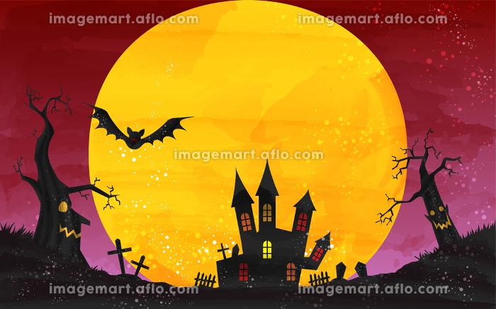 ハロウィンのお城と月夜のイラスト、水彩風グランジの販売画像