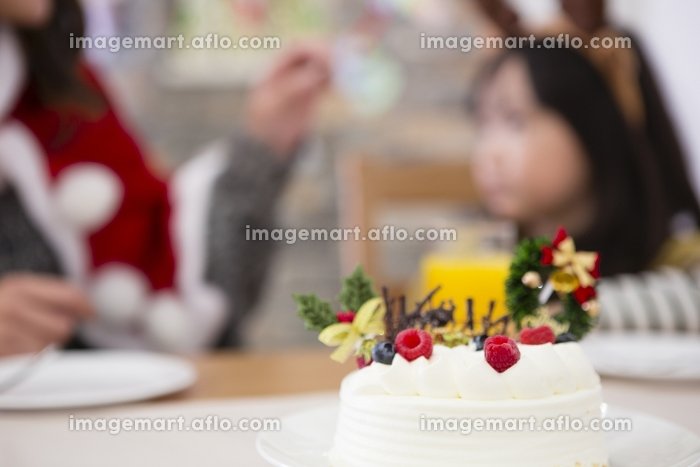 クリスマスケーキと親子の販売画像
