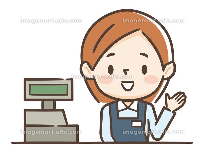 レジの女性店員の販売画像