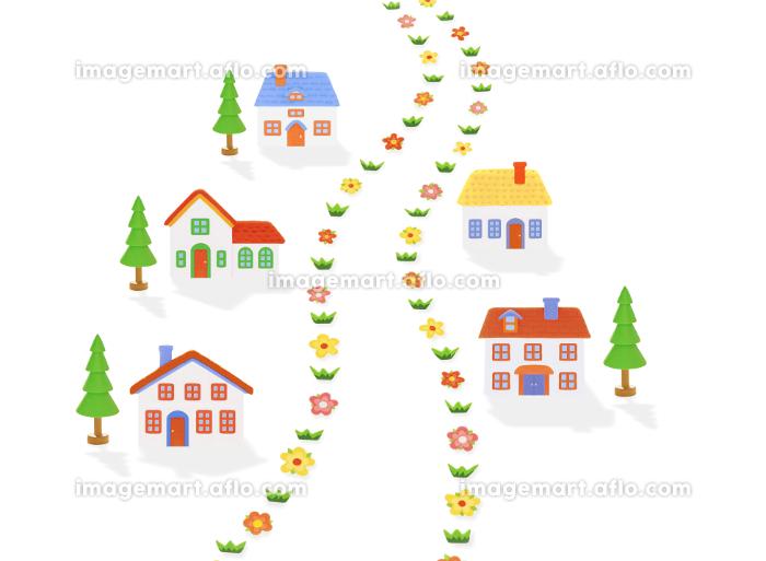 粘土の家5軒と道の販売画像