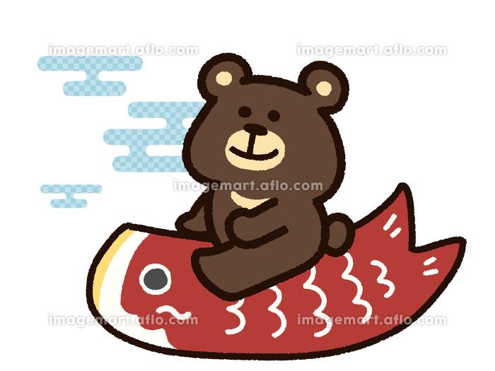こいのぼりに乗った熊の販売画像